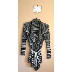 Moda International Striped Mohair Belted Cardigan